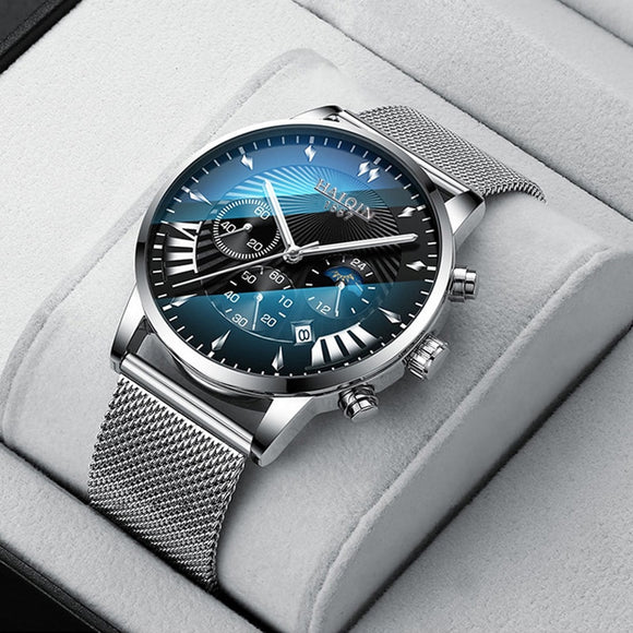 HAIQIN Mens Watches Quartz Full Steel Business Wristwatch Waterproof Fashion Calendar Wrist Clock Luxury Brand Mesh Belt Watch  MartLion.com