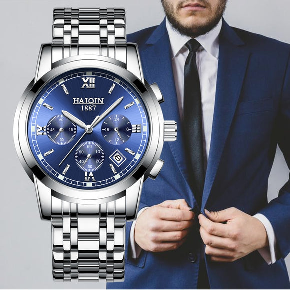 HAIQIN Watches Men Top Luxury Brand Chronograph Men Sports Watches Waterproof Full  Steel  Quartz Wrist Watch Relogio Masculino  MartLion.com