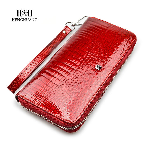 HH Fashion Women Wallets and Purses  Wristlet Wallets Female Zipper Long wallet Ladies ID Card  Coin Purse  Alligator Clutch