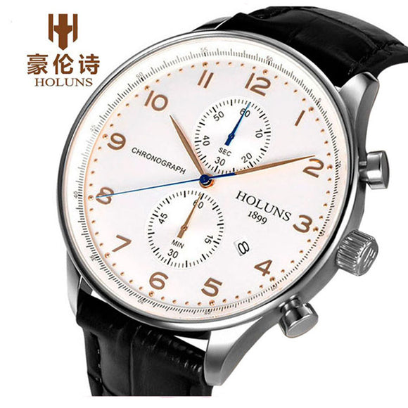 HOLUNS Original Watch Mens Top Brand Chronograph Men's Business Genuine Leather Dress Calendar Hour Clock Male Relogio Masculino  MartLion.com