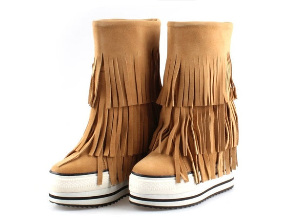 Handmade Fringe Booties Height Increasing 13cm Winter Warm Genuine Leather Suede Tassel Snow Boots Women Platform Elevator Shoes  MartLion