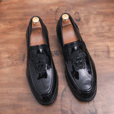 Handmade Mens Wedding Oxford Shoes Black Khaki Genuine Leather Brogue Men's Dress Shoes Slip On Business Formal Shoes For Men - Mart Lion