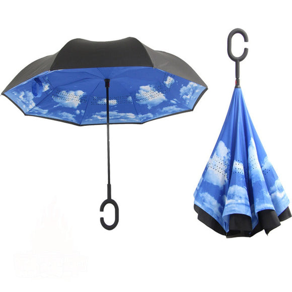Hands-free Car Umbrella Reverse Umbrella for Men Straight Double Layer 8K Women Manual Long Handle Umbrella Amour Parapluie  MartLion.com