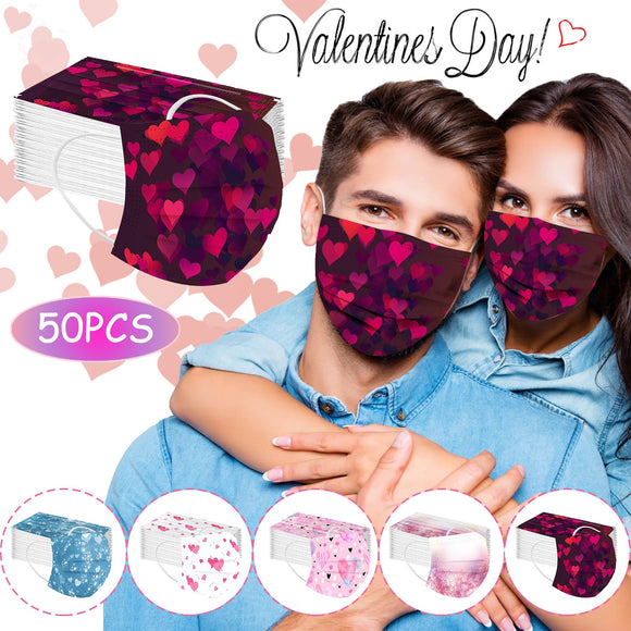 Headband 50PCS Adult mask Love Heart Disposable Protection Three Layer Breathable Face Mask mascara protectora máscara бандана#