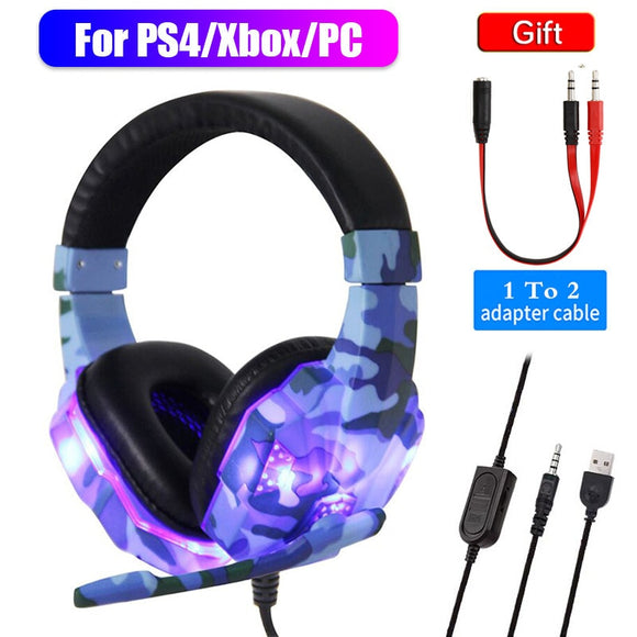 High-Grade Led Light Gamer Wired Headset For PS4 Switch Computer PC Bass Stereo Headphones With Mic Voice Control Men Gifts  MartLion