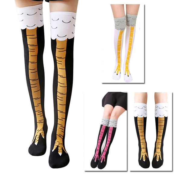 High Quality Creative Chicken Women Over the Knee Socks Cartoon Cotton Chicken Claw Ladies 3D Print Funny Animal High Socks  MartLion