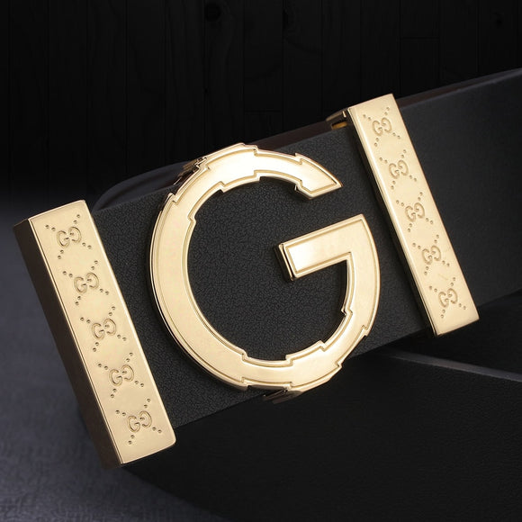 High Quality G letter Slide buckle leather genuine belts men fashion luxury brand Cowskin Waist Strap Casual cintos masculin  MartLion