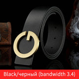 High Quality Men Genuine Leather Belt Fashion G Solid Brass Buckle Strap Belt Business Casual Belts for Men Male waistband  MartLion
