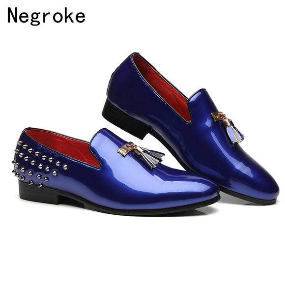 High Quality Shiny Patent Leather Mens Shoes Casual Loafers 2019 Sexy Rivet Italian Tassel Party Wedding Mocassin Homme  MartLion