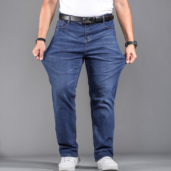 High Quality Stretch Plus Big Size 29 - 44 46 48 90% Cotton Straight Denim Jeans Men Famous Brand 2019 Spring - Mart Lion  Best shopping website