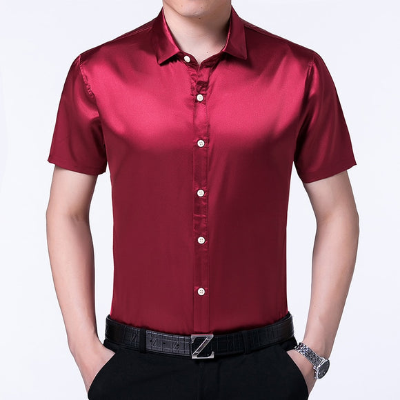High quality summer mens satin silk shirts pure color male casual satin dress short sleeve silk dress shirts  MartLion