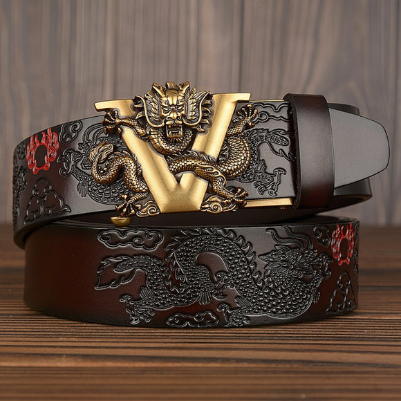 Hot China Dragon Designer Belt Men Cowskin Genuine Luxury Leather Men's Belts for Men Carving Dragon Pattern Automatic Buckle  MartLion.com