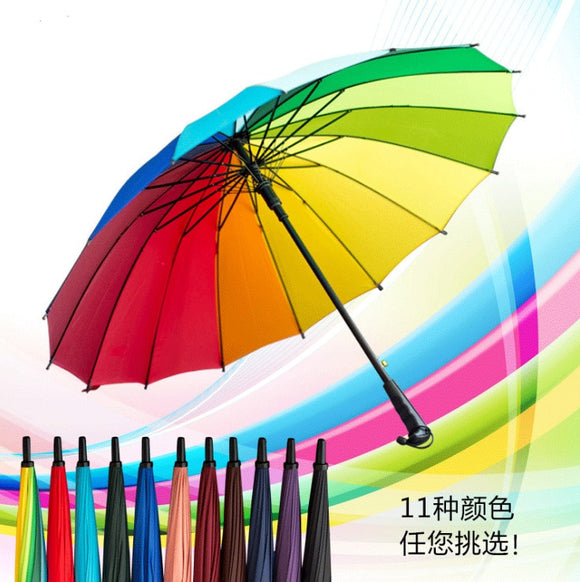 Hot Sale Brand Rain Umbrella Men Quality 16K Strong Windproof Glassfiber Frame Wooden Long Handle Umbrella Women's Parapluie