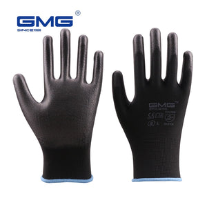 Hot Sale GMG CE Certificated EN388 Black Red White Polyester White Black PU Safety Work Gloves Mechanical Black Gloves  MartLion.com