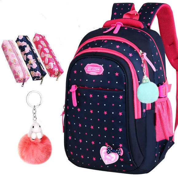 Hot Sale Girls School Bags Cute Bow-knot For Children Backpack Large Capacity Elementary School Bag Stars Print Mochila Escolar  MartLion