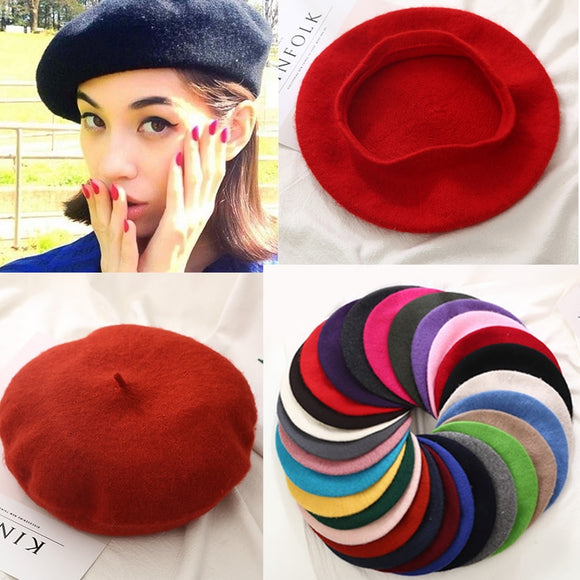 Hot Sell 2018 Cheap Fashion New Women Wool Solid Color Beret Female Bonnet Caps Winter All Matched Warm Walking Hat Cap  MartLion