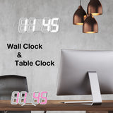 Hot! Time Large LED Digital Wall Clock Alarm Date Temperature Automatic Backlight Table Desktop Home Decoration Stand hang Clock  MartLion
