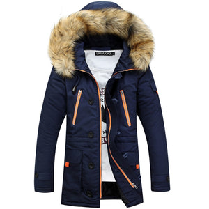 Hot Winter Men's Long Parkas Thick Fur Collar Hooded Coats Men Warm Windproof Overcoats Casual Army Jackets Male Brand Clothing  MartLion
