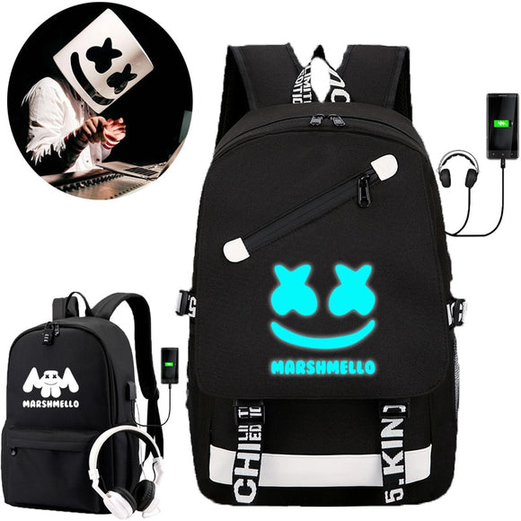 IMIDO Luminous DJ Man Backpacks for Students marshmello School Bags Usb Charging Black Travel Shoulders Backpack for Boys Girls  MartLion