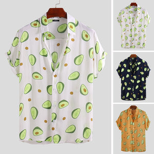 INCERUN 2019 Summer Mens Shirt Avocado Printed Lapel Neck Short Sleeve Casual Tops Beach Hawaiian Shirts Men Streetwear Camisa  MartLion
