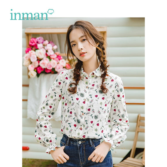 INMAN Autumn Turn Down Collar Literary Retro Floral Pastoral Holiday Style Casual All Matched Women Shirt - Mart Lion  Best shopping website