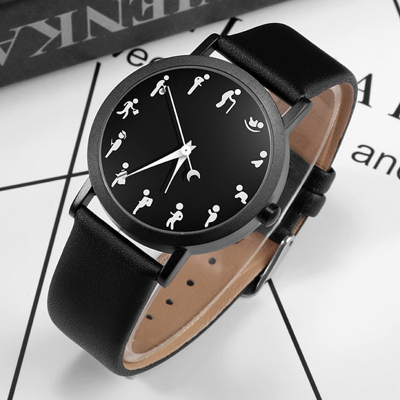 Imaginative Flattened Character Dial Design PAIDU Brand Men Women Watch Quartz Watches Men Simple Fashion Wristwatch Clock 2020
