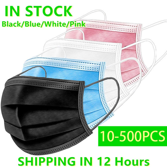 In Stock 10-500 Pcs Disposable Non-Woven 3-Layer Face Mask Anti Dust Breathable Mask with Elastic Earband Adult Mondkapje Zwart