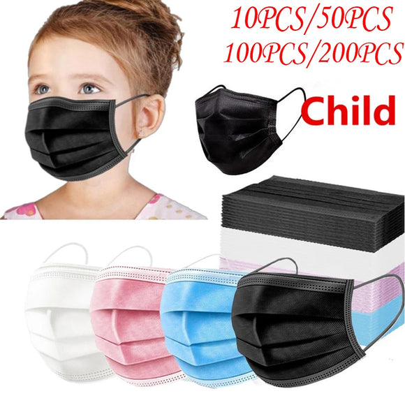 In stock! Disposable children's mask non-woven fabric 3-layer filter cloth mask dust mask breathable ear hook mask