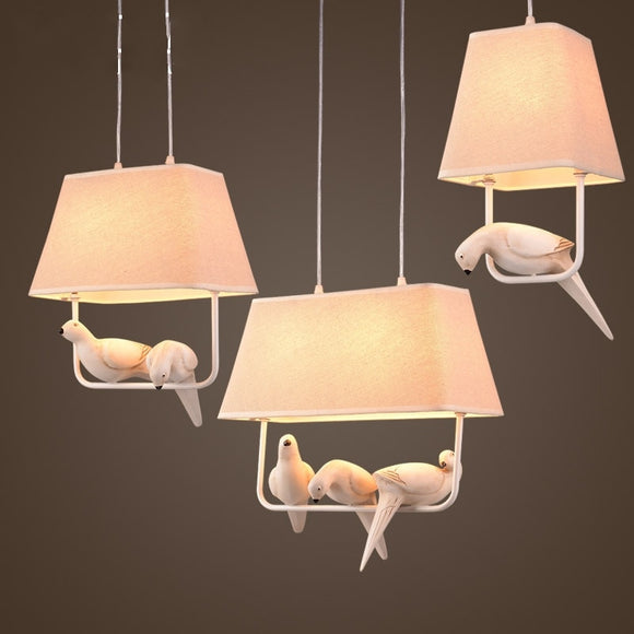 Individual Birds Pendant Lights Vintage Resin Bird Fabric Lampshade LED Pendant Lamps Kitchen Dining Room Luminaire Bird Light