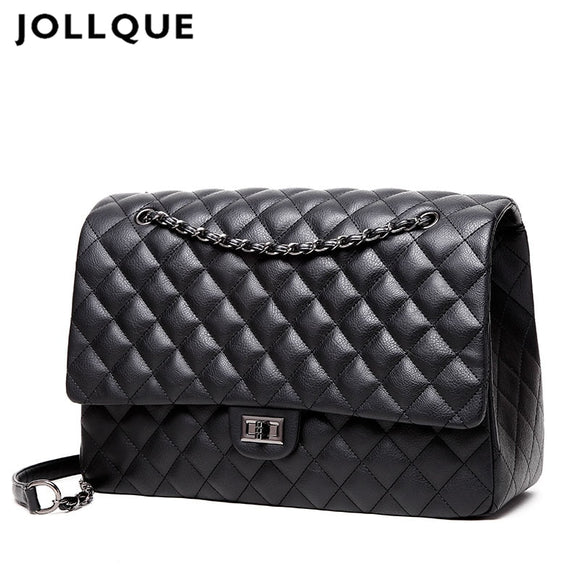 Jollque Quilted Women's Clutch Handbags Leather Travel Bag Female Large Shoulder Bag Luxury Big Bags Designer Sac A Main Black - Mart Lion  Best shopping website