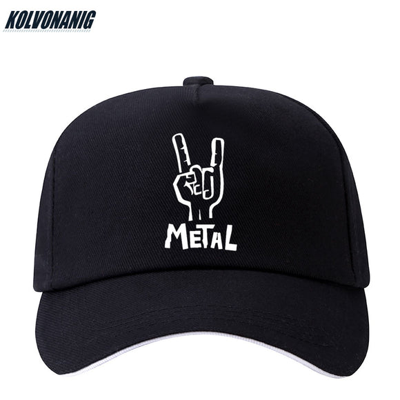 KOLVONANIG Women Men's Black Caps Heavy Metal Rock Electric Guitar Printed Baseball Cap Cotton Hip Hop Unisex Snapback Sun Hats  MartLion