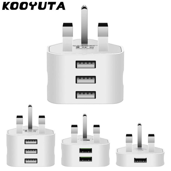 KOOYUTA Universal 1/2/3-Port USB UK Plug 3 Pin Wall Charger Adapter with 3 Port England Travel Charger Charging for Iphone iPad