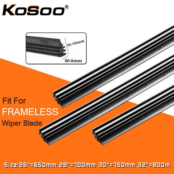 KOSOO 2PCS Vehicle Windshield Insert Natural Rubber Car Wiper Blade Strip (Refill) 6mm 26