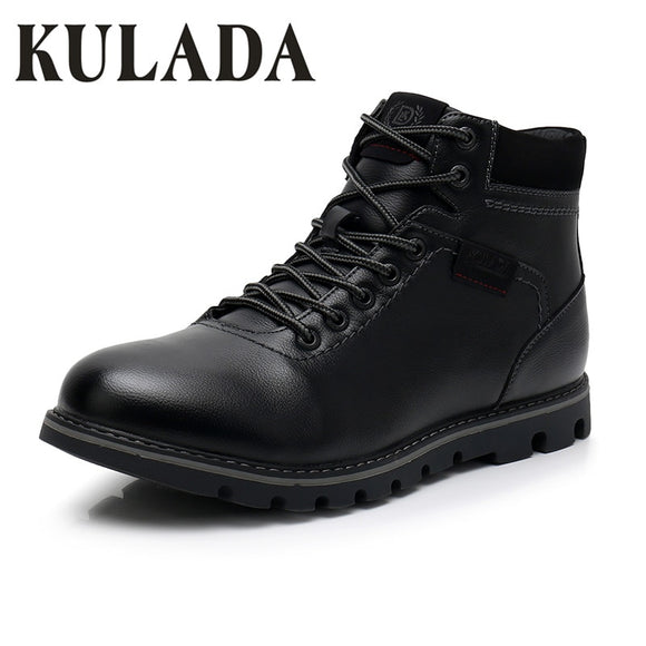 KULADA New Motorcycle Boots Men Outdoor Work Boots Thick Fur Warm Super Plus Size 40-49 High Quality Waterproof Men Winter Shoes - Mart Lion
