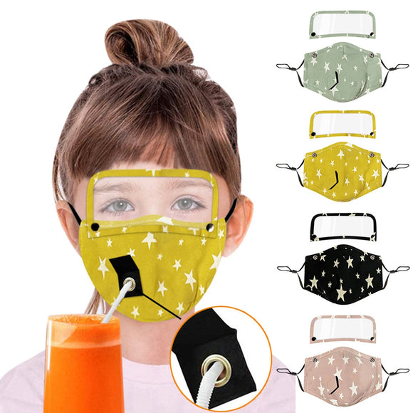 Kids Reusable Drinking Face Mask with Hole for Straw and Detachable Eyes Shield  mascarilla masque face mask for kids