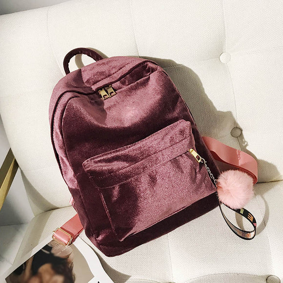 Korean Version Fashion Bags Women Velvet Backpack Pleuche Casual Zipper For Traveling Shopping Teenage School  MartLion