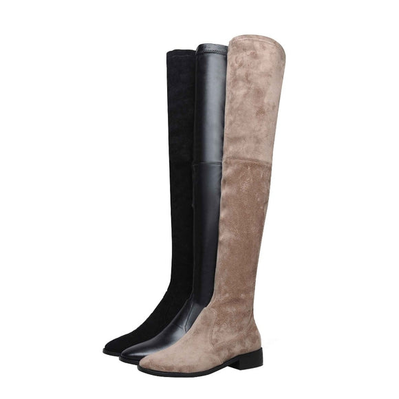 Krazing Pot 2020 genuine leather round toe stretch over-the-knee boots thick heels superstar wear thin leg thigh high boots L3f1