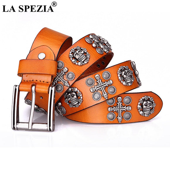 LA SPEZIA Men Genuin Leather Rock Belt Skull Cross Punk Belts for Women Yellow Black Coffee Cowskin Brand Streetwear Accessories - Mart Lion  Best shopping website