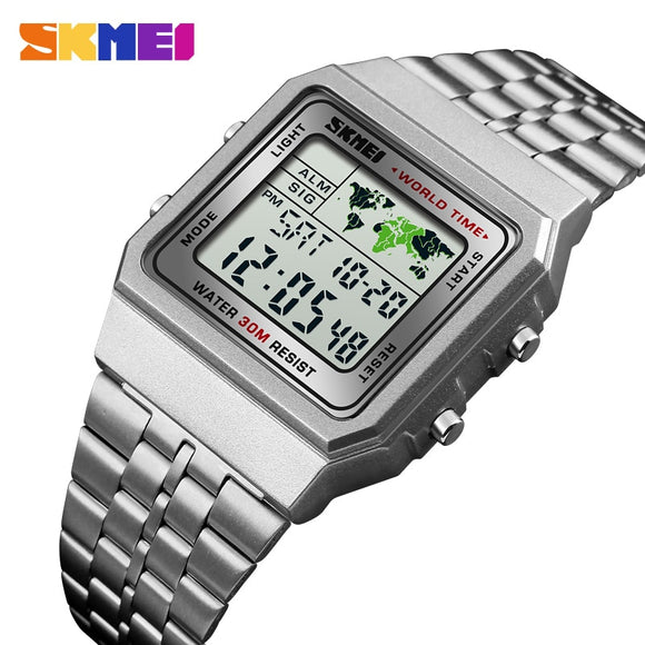 LED Digital Men's Watch Sports Watches Men Relogio Masculino Relojes Stainless Steel Military Waterproof Wrist watches SKMEI  MartLion
