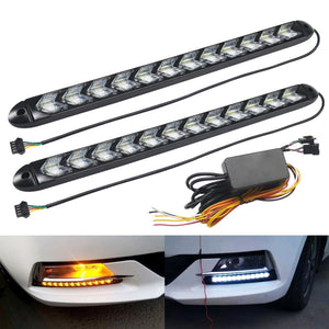 LED Flexible DRL Daytime Running Lights Turn Signal White/Amber Switchback Dynamic Streamer Knight Rider Strip Light Headlight  MartLion