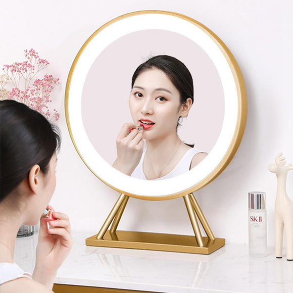 LED Makeup Mirror Large with Intelligent Touch Light 30 50 60CM Round Desktop Lamp Cosmetic Mirror  For Ins Luxury Big  Art Face  MartLion