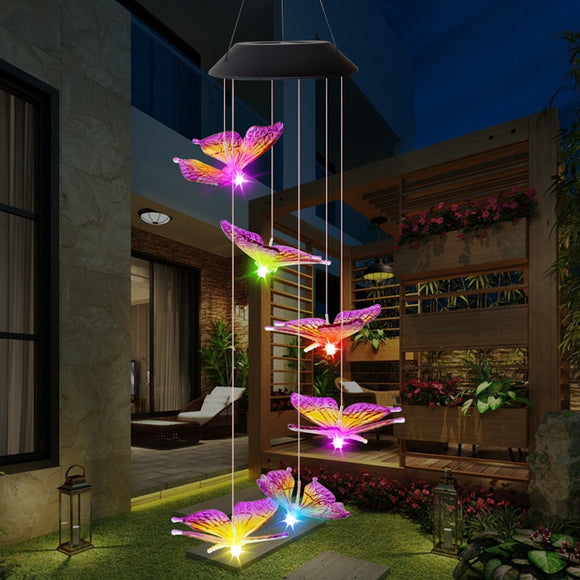 LED Solar Wind Chime Light Butterfly Style Outdoor Waterproof Garden Garland Hanging Lights Christmas Holiday Solar Lamp Decor  MartLion.com