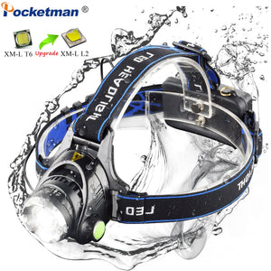 LED headlamp fishing headlight T6/L2 3-Modes Zoomable lamp Waterproof Head Torch flashlight Head lamp by 18650 battery  MartLion