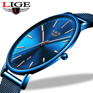 LIGE Women Watches Top Brand Luxury Ladies Mesh Belt Ultra-thin Watch Stainless Steel Waterproof Clock Quartz Watch Reloj Mujer  MartLion.com