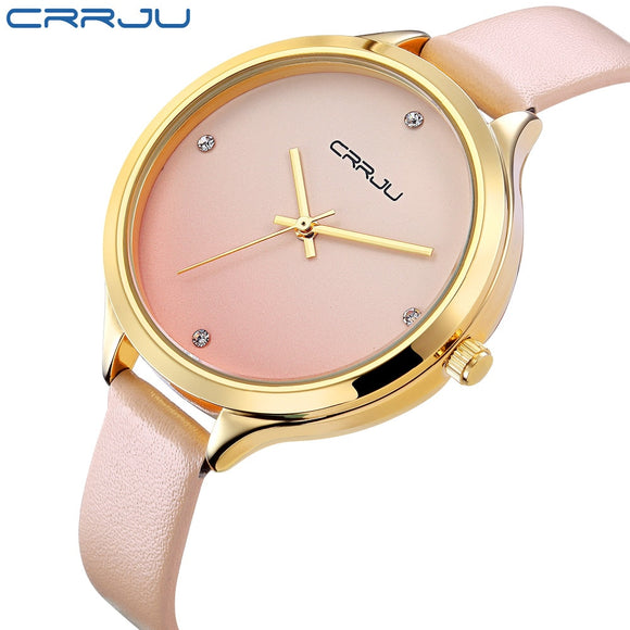 Ladies Fashion Quartz Watch Women Rhinestone Leather Casual Dress Women's Watch Gold Crystal reloje mujer 2017 montre femme  MartLion.com