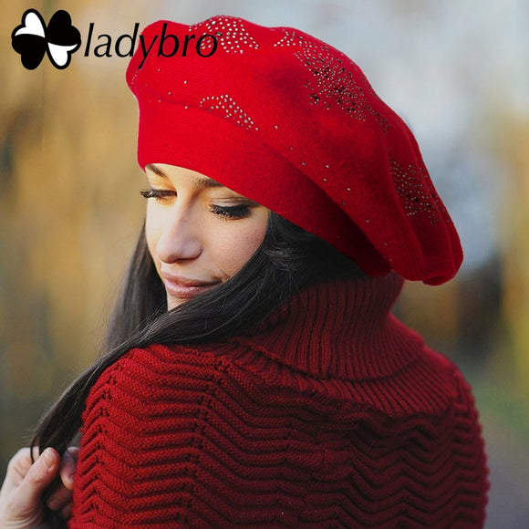 Ladybro Double Layer Rhinestones Wool Hat Women Autumn Winter Hat Warm Beret Female Knitted Hat Cap Boina Women's Beret Hat - Mart Lion  Best shopping website
