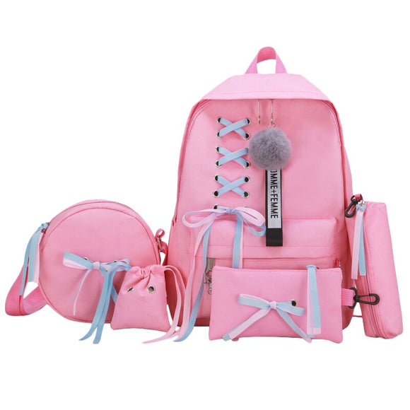 Large School Bags for Teenage Girls Usb with Lock Anti Theft Backpack Women Book Bag Big High School Bag Ribbons  MartLion.com