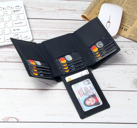 Leather RFID Blocking Wallet Men Trifold 14 Card Slots Business ID Card Holders Men's Genuine Leather Purse Money Bags Male - Mart Lion  Best shopping website