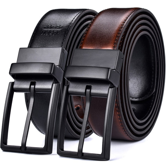 Leather Reversible Belts For Men Dress Designer Male Rotated Buckle Jean Two In One