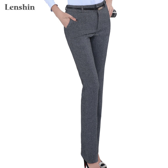 Lenshin Plus Size Formal Adjustable Pants for Women Office Lady Style Work Wear Straight Belt Loop Trousers Business Design  MartLion